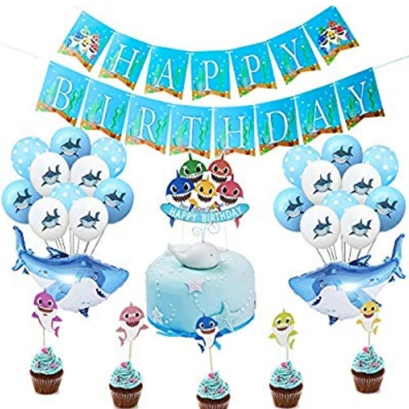 under the sea Ocean Shark Theme party decorations Favors Includes Shark Balloons Shark Cake Topper Baby Shark Birthday Party Supplies Decorations for Boys And Girls Shark Birthday Banner Pink
